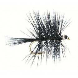 Dry fly - hackled Dries Black twin screw 1796 ham 16