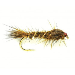 Mouche larv.-hares Ears & flashbacks grhe Olive weighted