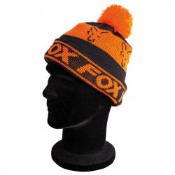 Bonnet Noir et Orange Lined Bobble Fox