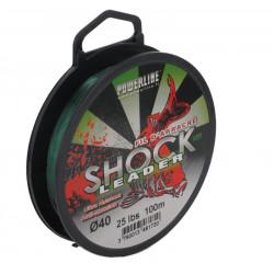 Tête de ligne carpe Shock Leader Vert 100m 0.40mm 25lbs Powerline