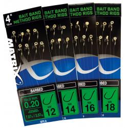 "Matrix 4 ""Feeder Rigger Method Rigs Size 18 Barbed Bait Band"