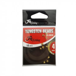 Tungsten Beads Gold color per 10 Filfishing