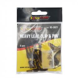 Camou Heavy Lead Clip & Pin Extra Carp par 6