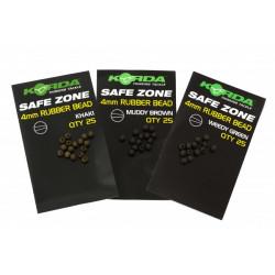 Parels veilige zone 4 mm rubberen kraal bruin Korda