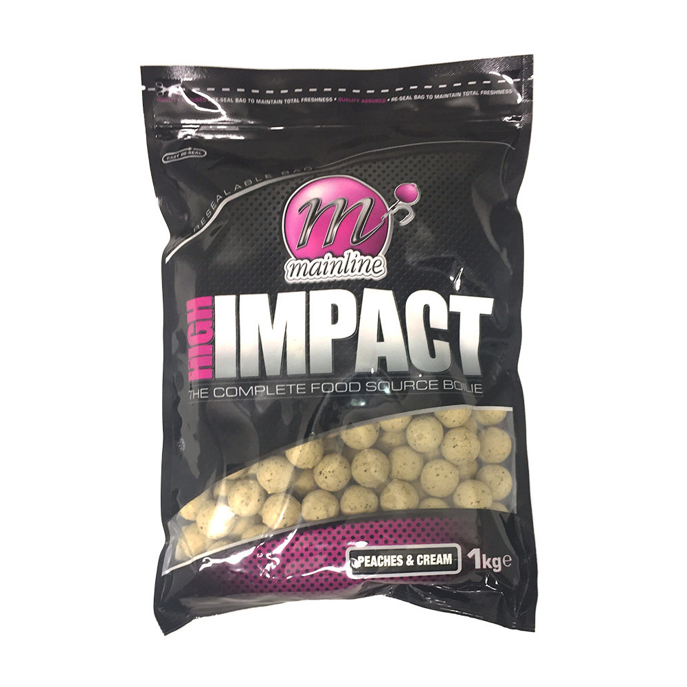 1kg High Impact Boilies peaches & Cream Mainline 1