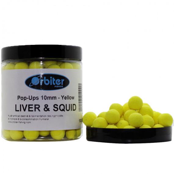 Liver & Squid pop-ups Yellow 100gr Orbiter baits